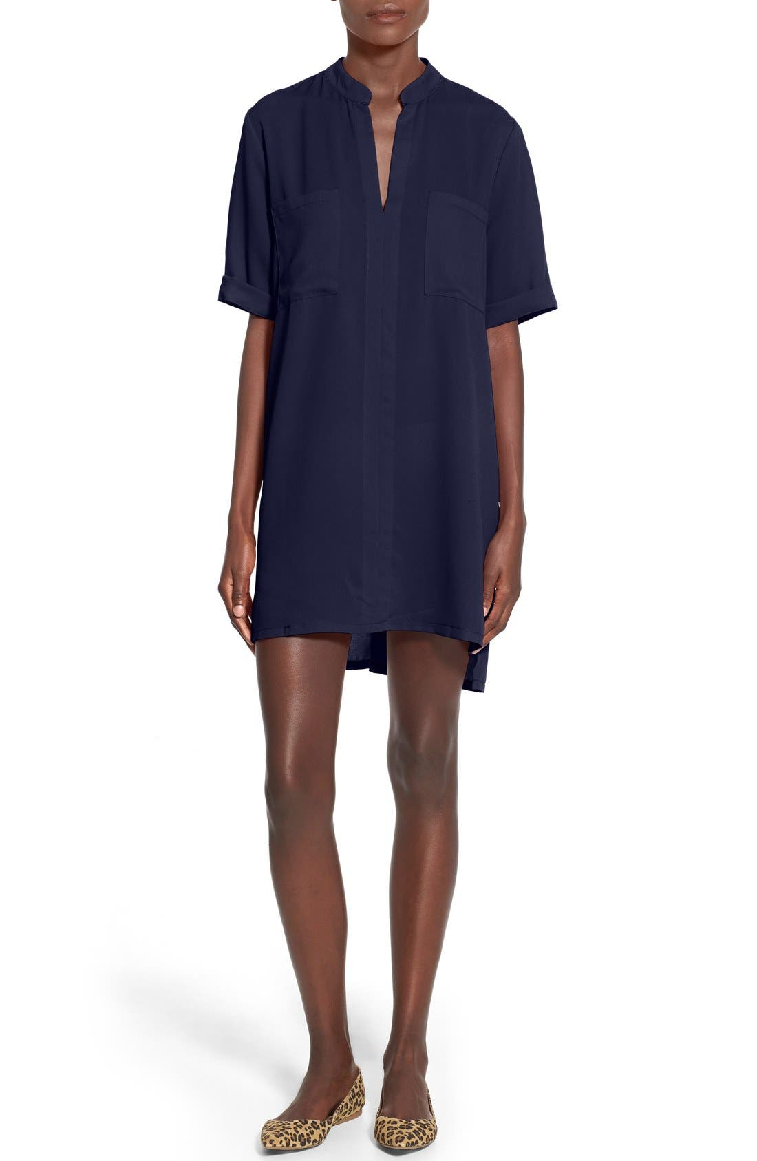 Alternate Image 1 Selected - Everly Split Neck Shirtdress