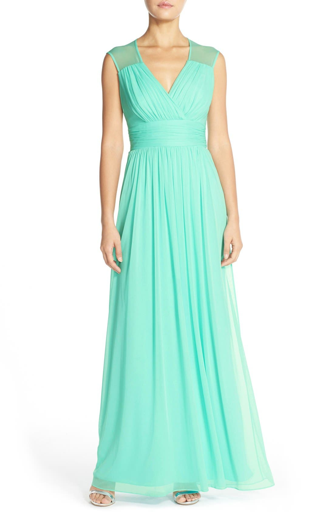 Alternate Image 1 Selected - Alfred Sung Shirred ChiffonCap Sleeve Gown
