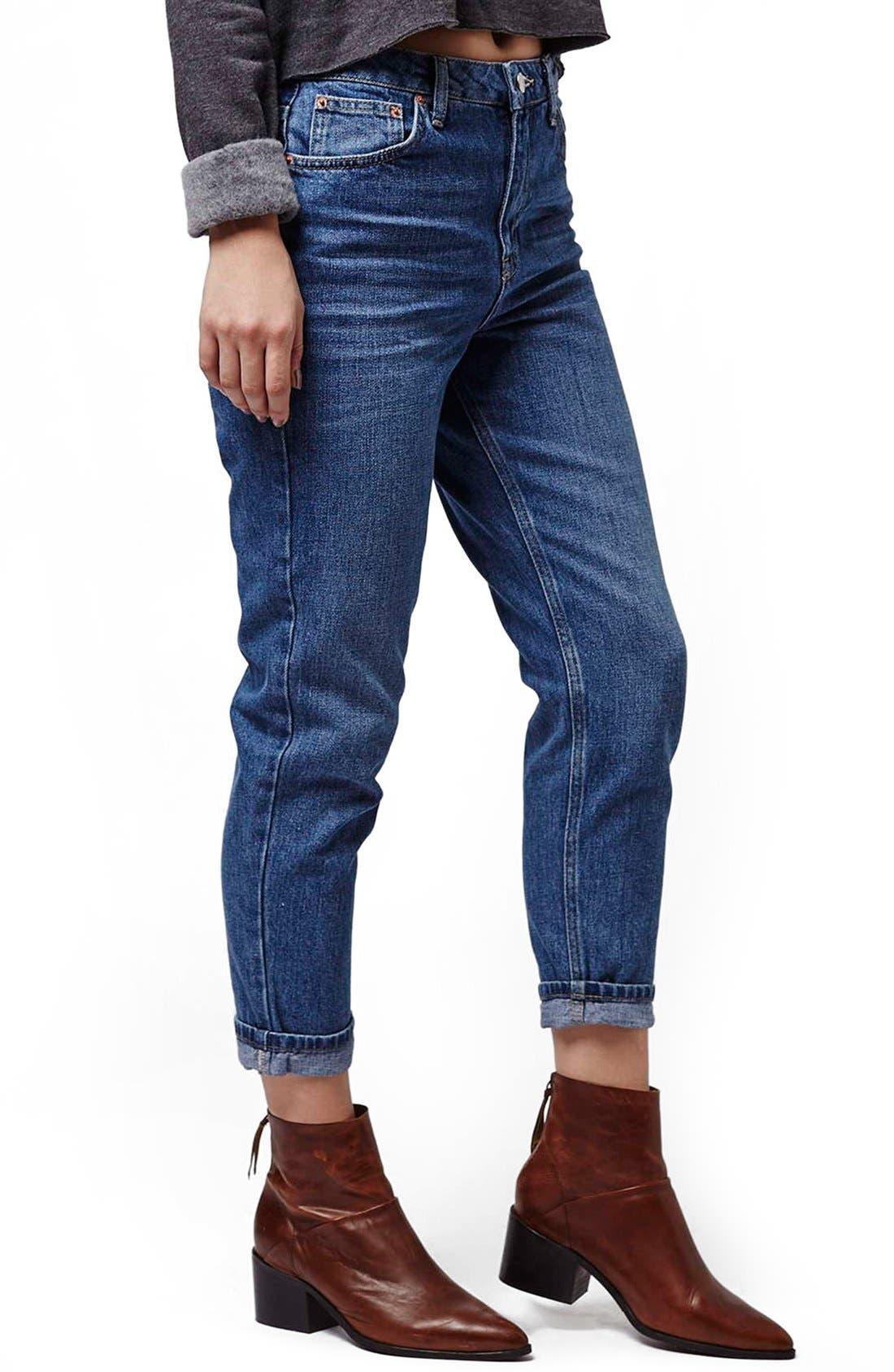 Main Image - Topshop Moto High Rise Crop Jeans (Dark Denim) (Petite)