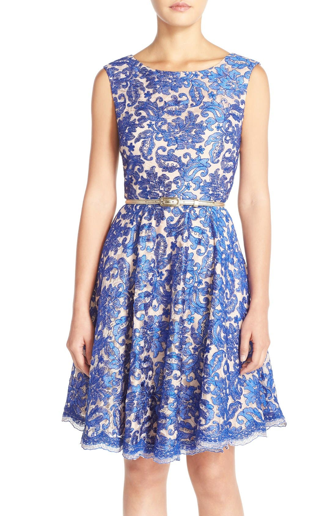 Main Image - Eliza J Embroidered Lace Fit & Flare Dress (Regular & Petite)