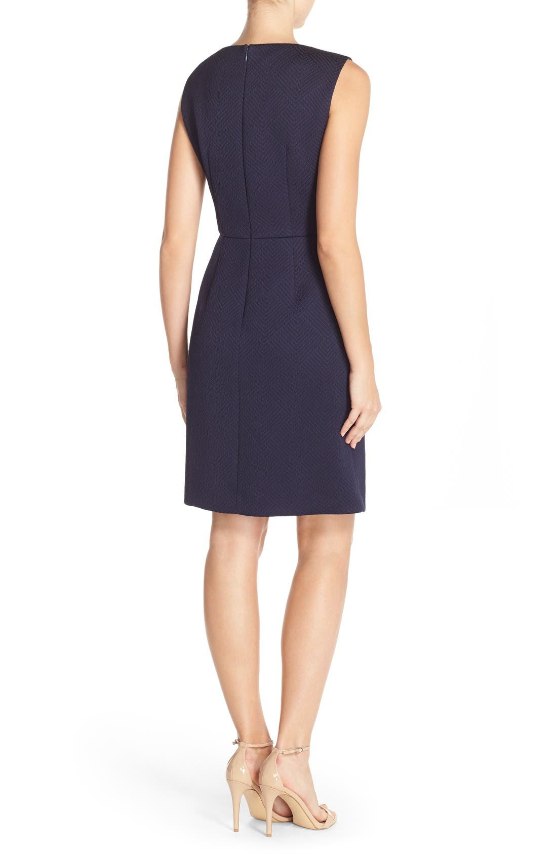 Alternate Image 2  - Tahari Bejeweled Neck Jacquard Sheath Dress (Regular & Petite)