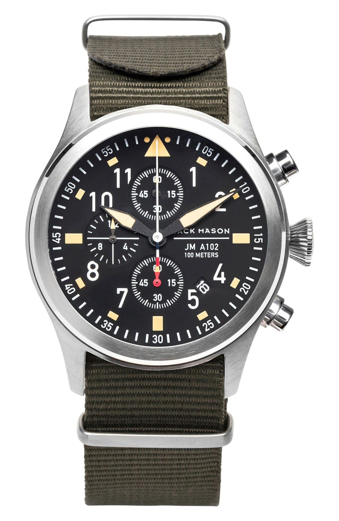 JACK MASON Aviation Chronograph NATO Strap Watch 42mm