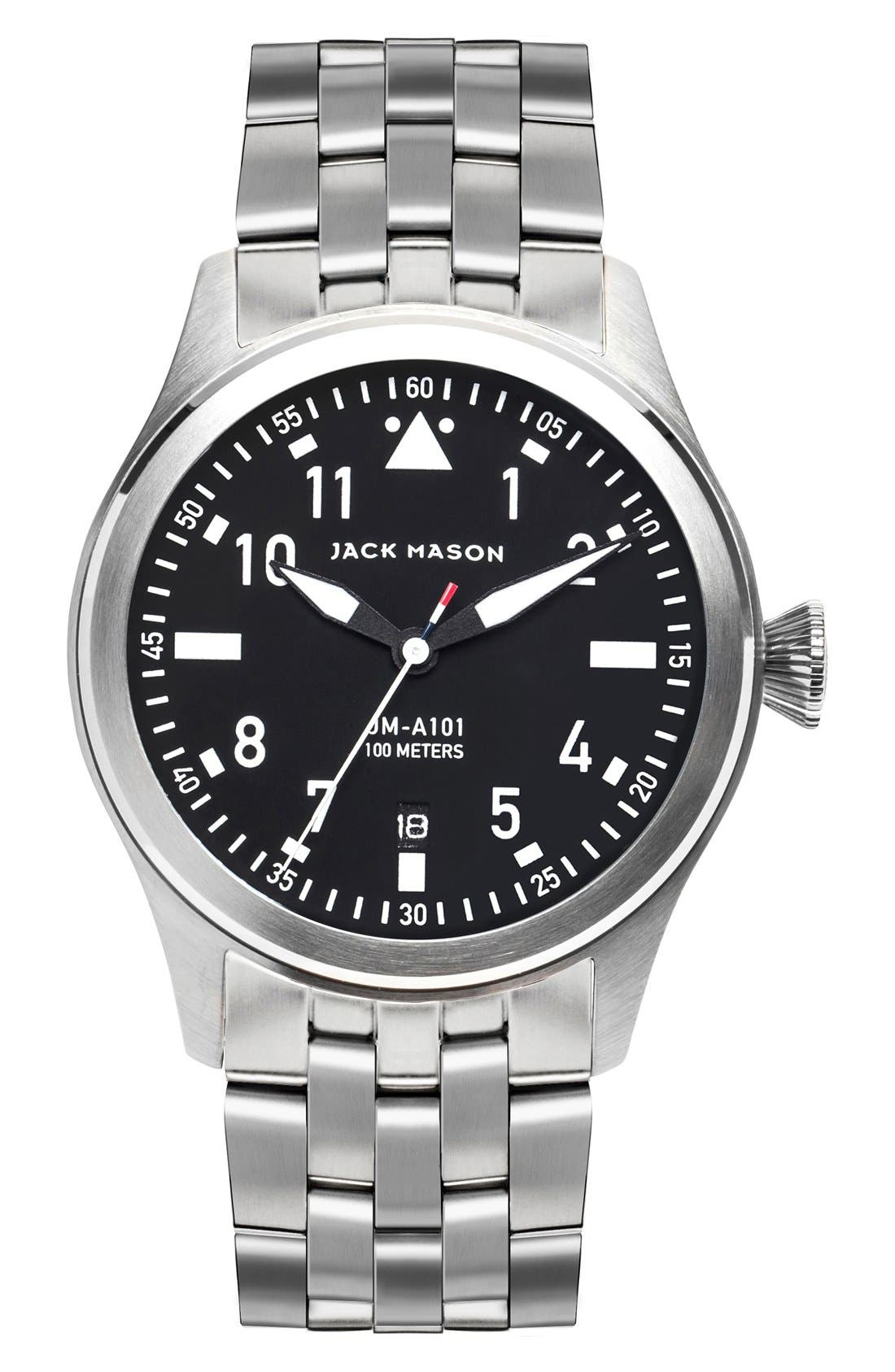 JACK MASON Aviation Bracelet Watch, 42mm