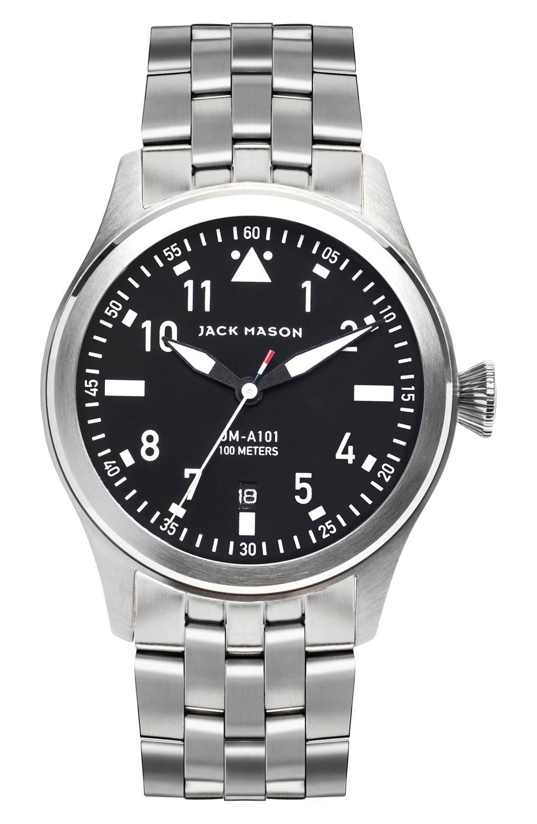 JACK MASON Aviation Bracelet Watch, 42mm