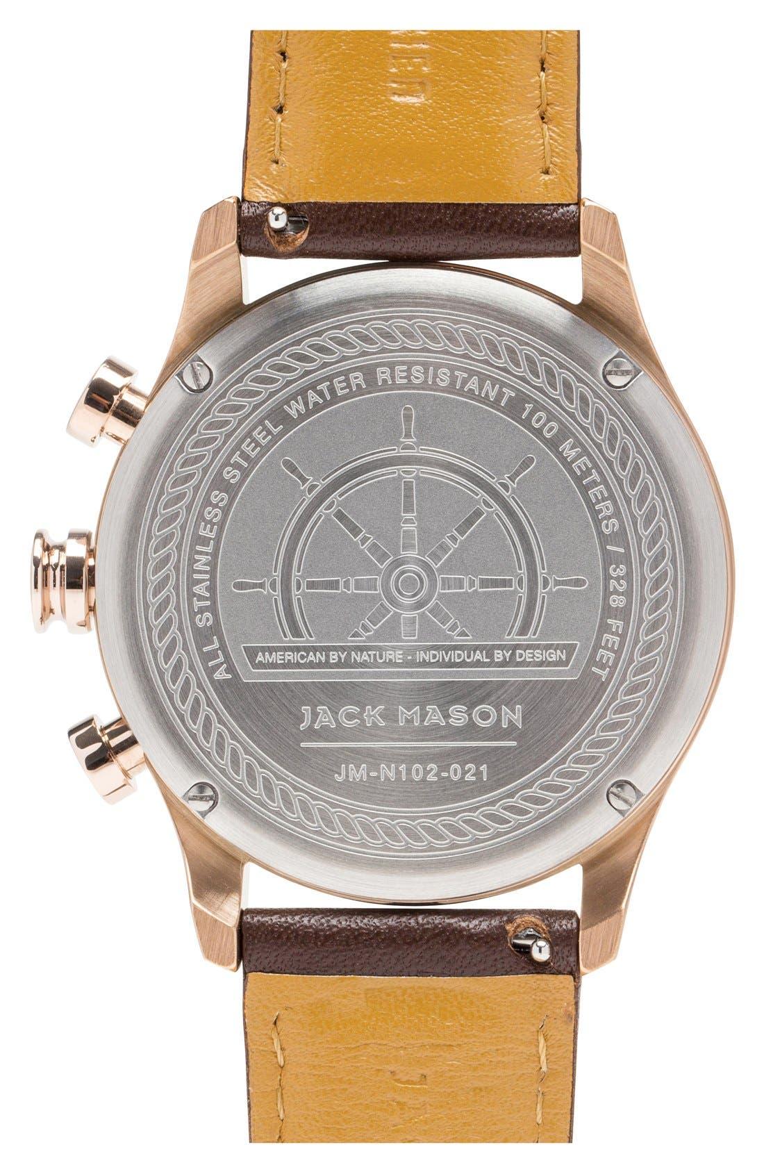 Alternate Image 2  - Jack Mason Nautical Chronograph Leather Strap Watch, 42mm