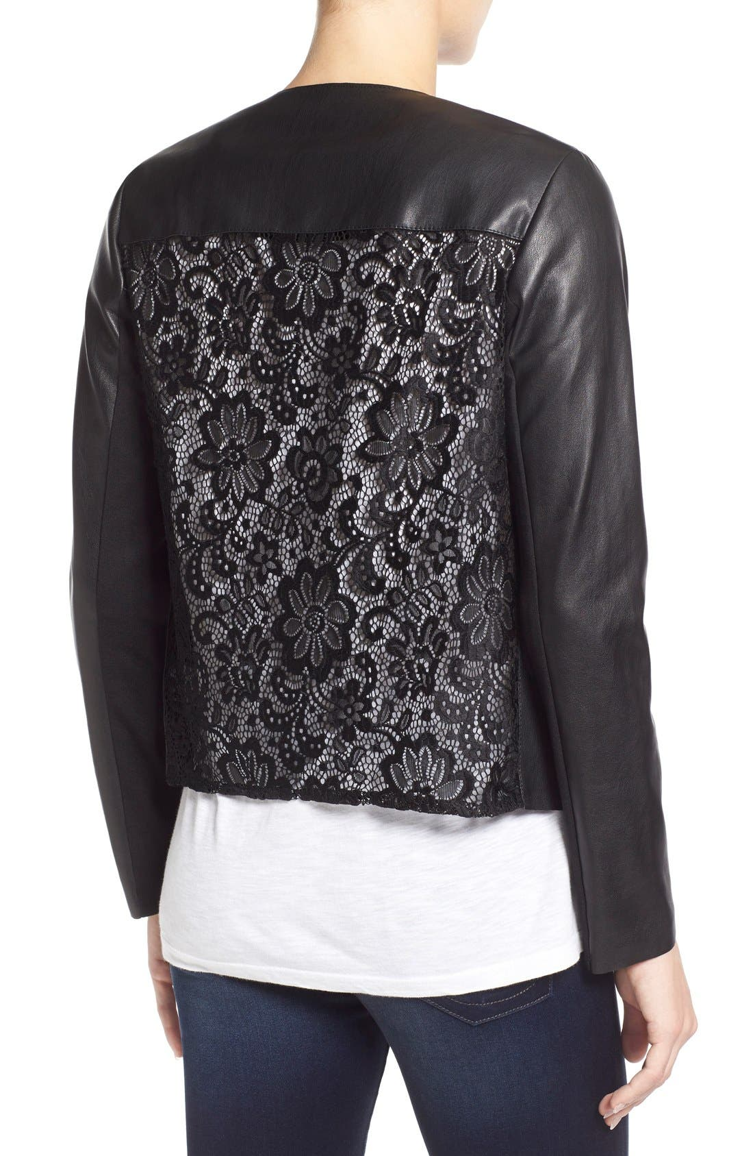 Alternate Image 2  - KUT from the Kloth 'Mira' Lace Back Faux Leather Jacket