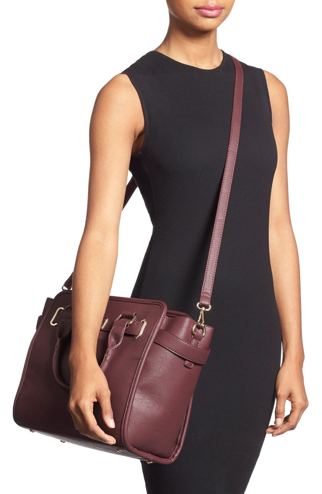 Alternate Image 2  - Cesca Faux Leather Crossbody Lock Satchel