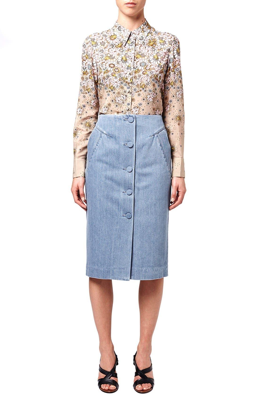 Alternate Image 2  - Topshop Unique 'Whitcomb' Button Front Denim Midi Skirt