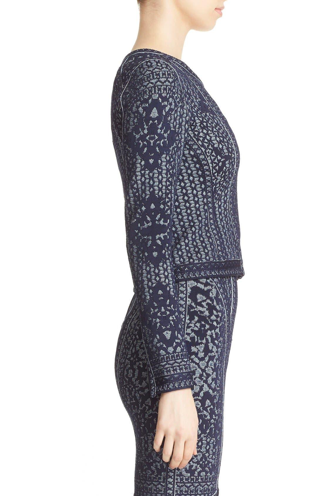 Alternate Image 5  - Herve Leger Asymmetrical Zip Jacquard Knit Jacket