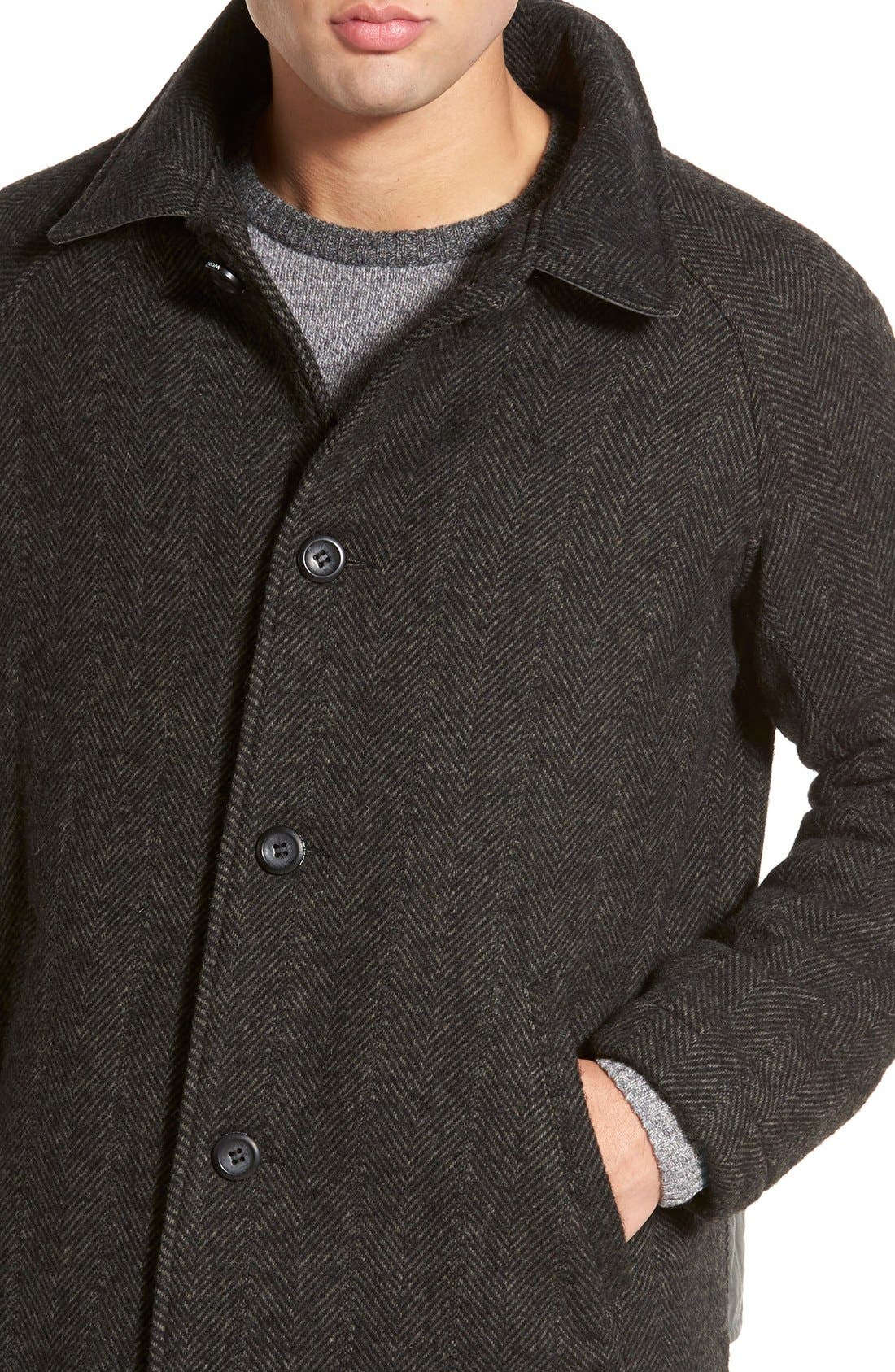 Alternate Image 4  - Woolrich 'Mill' Water Resistant Herringbone Wool Blend Car Coat with Detachable Hood