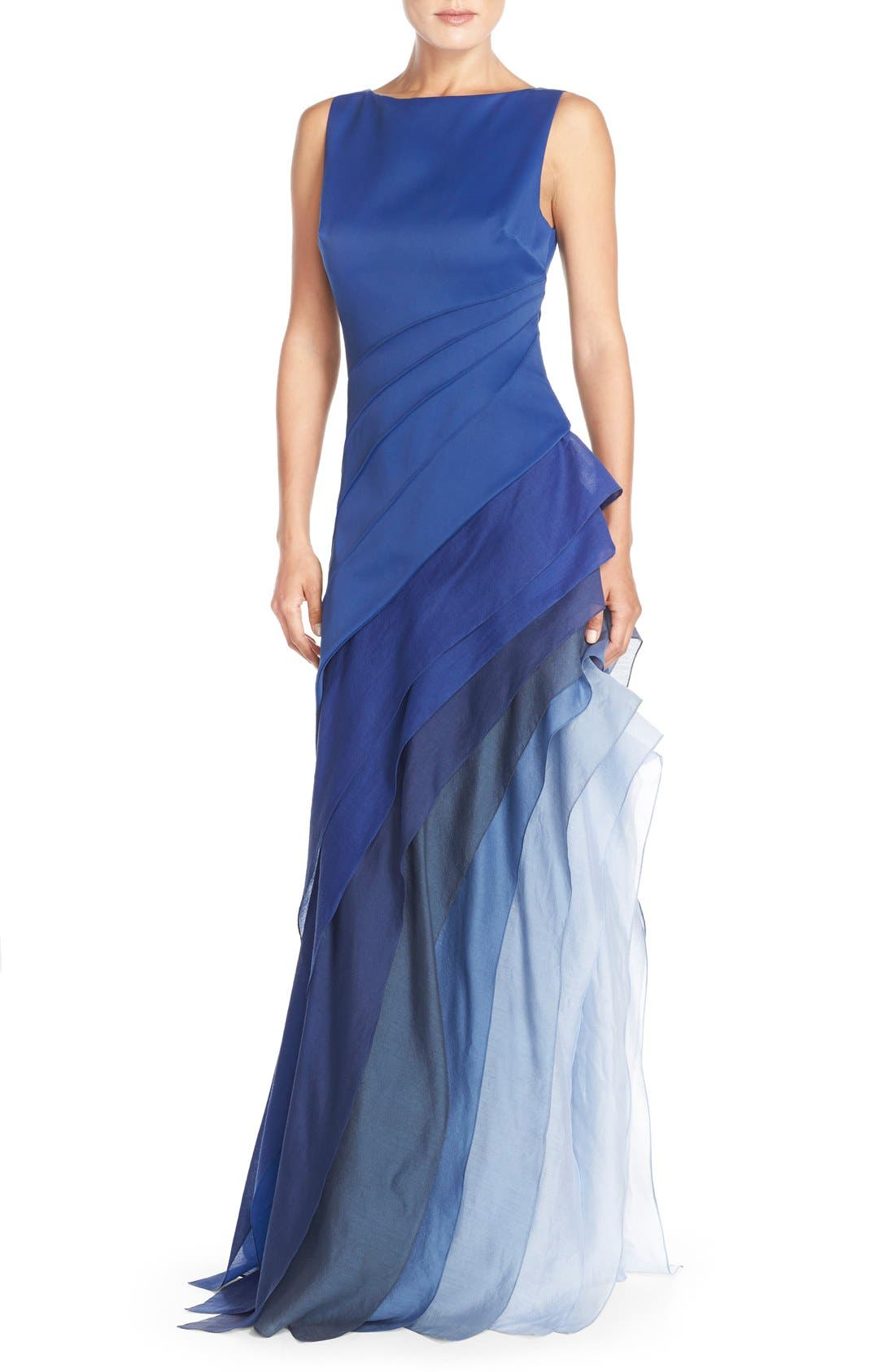 Main Image - Halston Heritage Asymmetrical Satin & Voile A-Line Gown