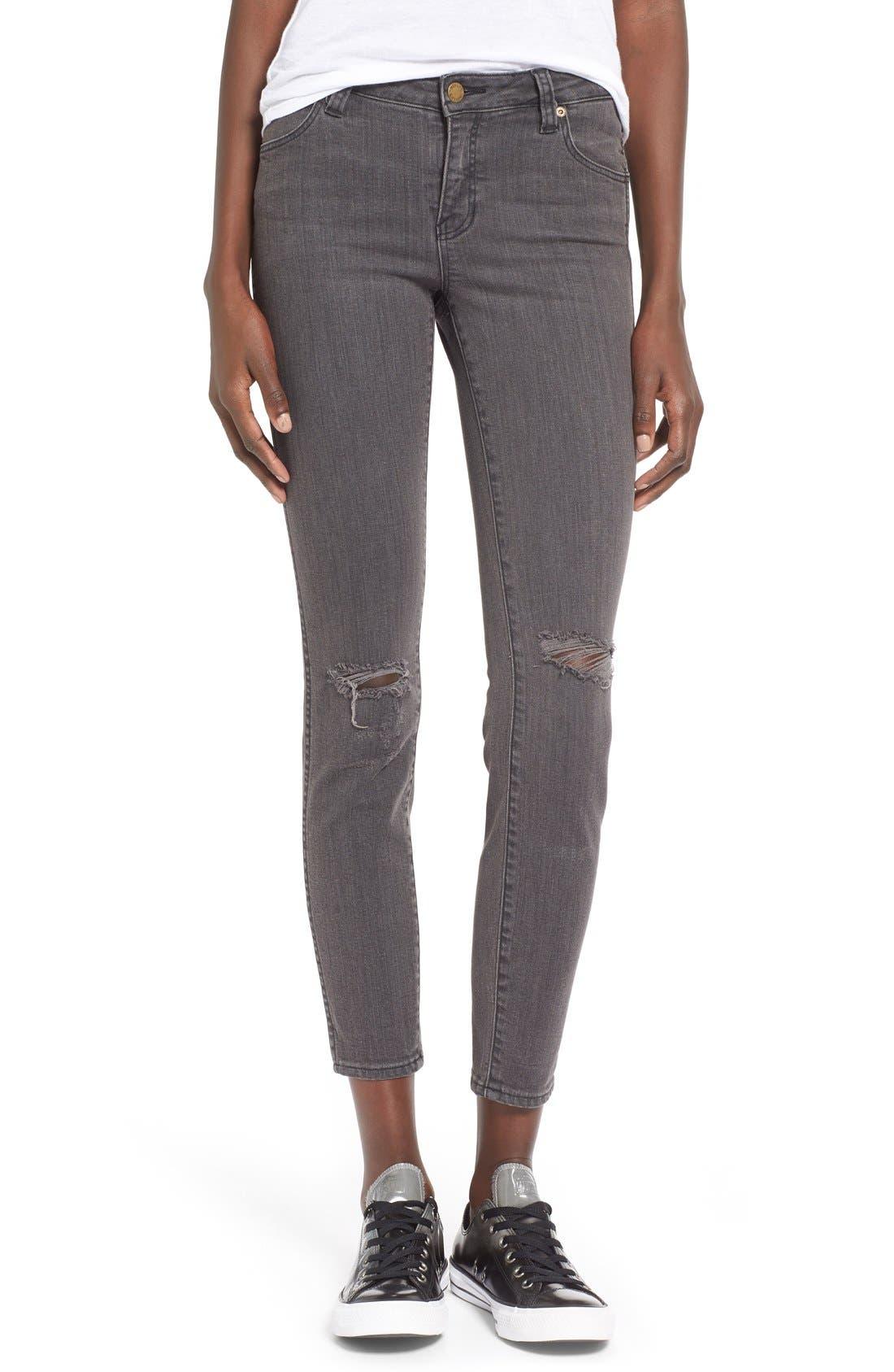 Alternate Image 1 Selected - Rolla's 'Breakers' Distressed Skinny Jeans (Beaten Black)