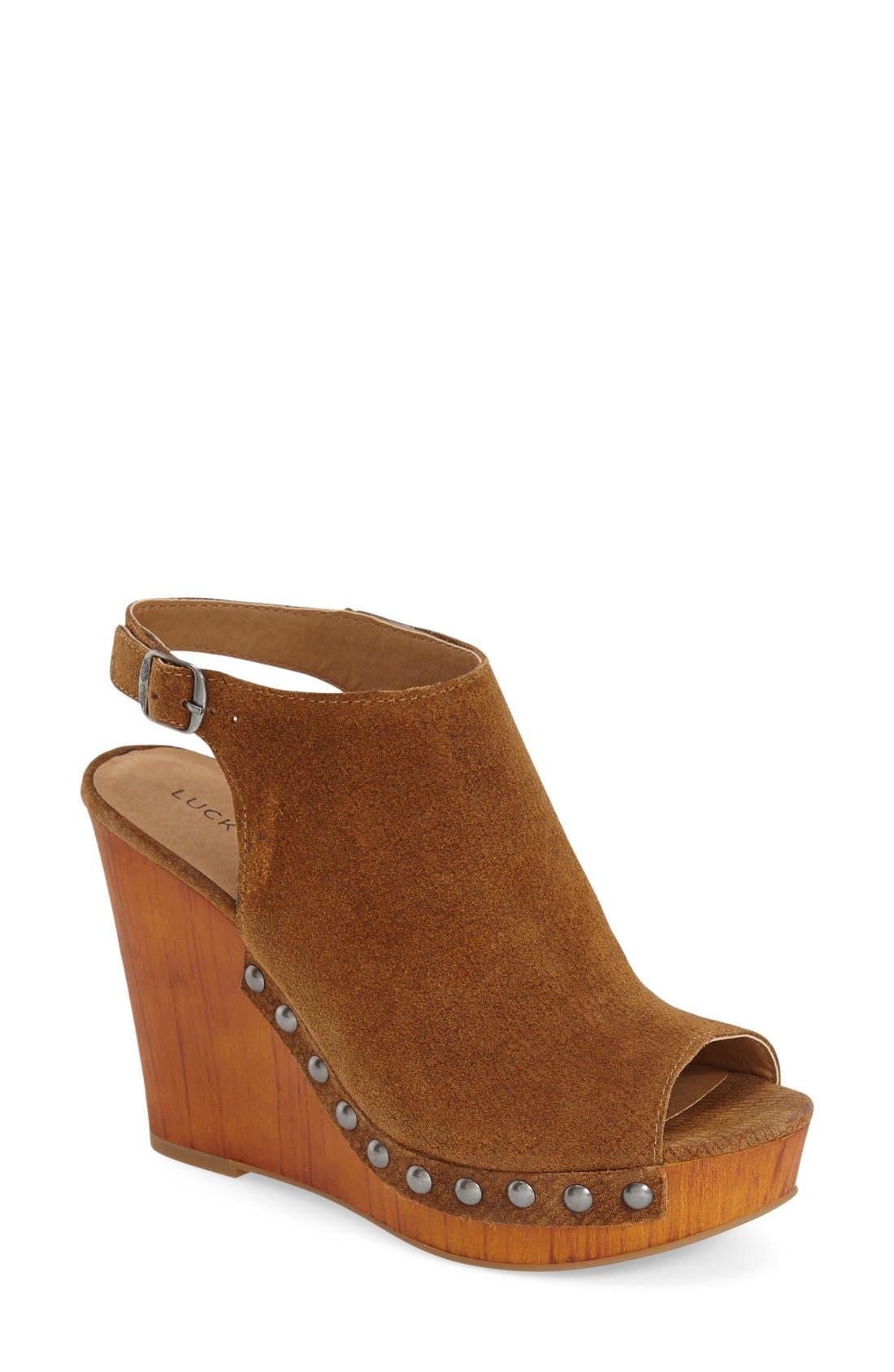 Alternate Image 1 Selected - Lucky Brand 'Larae' Wedge Sandal (Women)