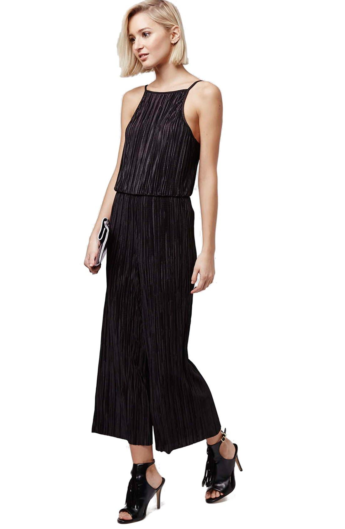 Main Image - Topshop Pleated High Neck Jumpsuit