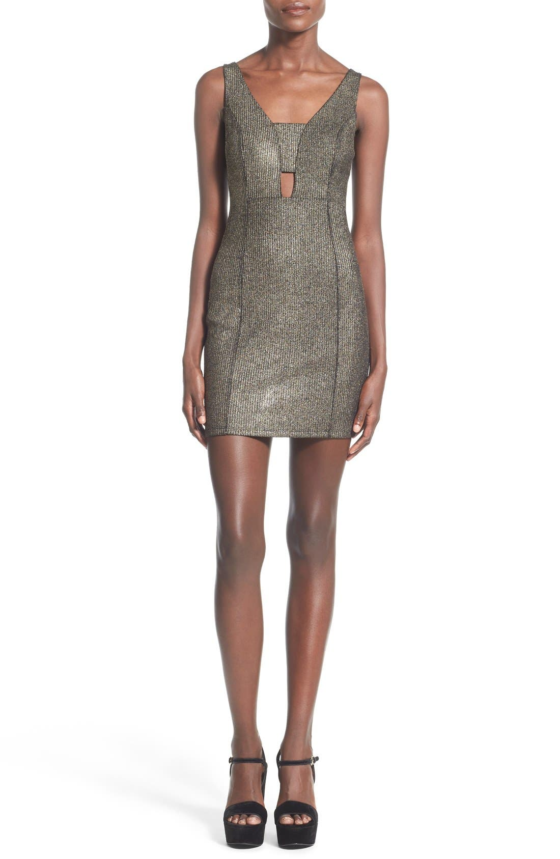Alternate Image 1 Selected - Soprano Cutout Detail Metallic Body-Con Dress