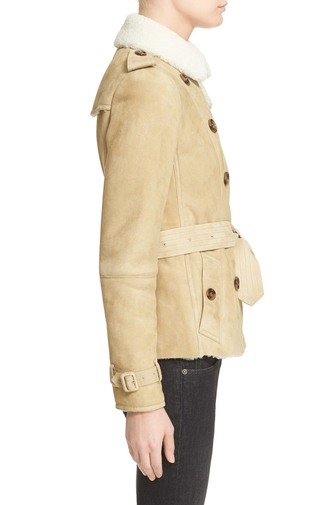 Alternate Image 5  - Burberry London 'Sandringham' Short Genuine Shearling Trench Coat