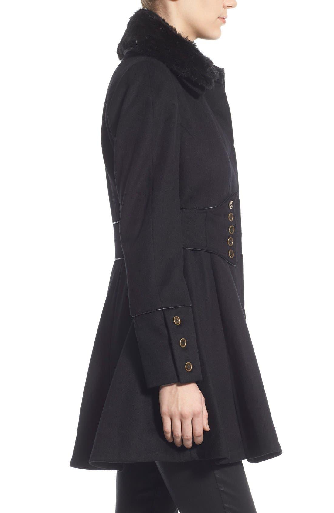 Alternate Image 3  - Betsey Johnson Faux Fur Collar Skirted Wool Blend Coat