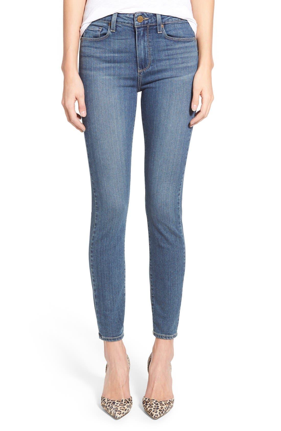 Alternate Image 1 Selected - Paige Denim 'Transcend - Hoxton' High Rise Ankle Ultra Skinny Jeans (Linden)