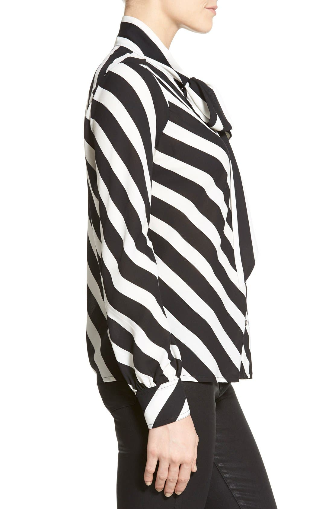 Alternate Image 3  - Vince Camuto 'Runway Stripe' Tie Neck Blouse