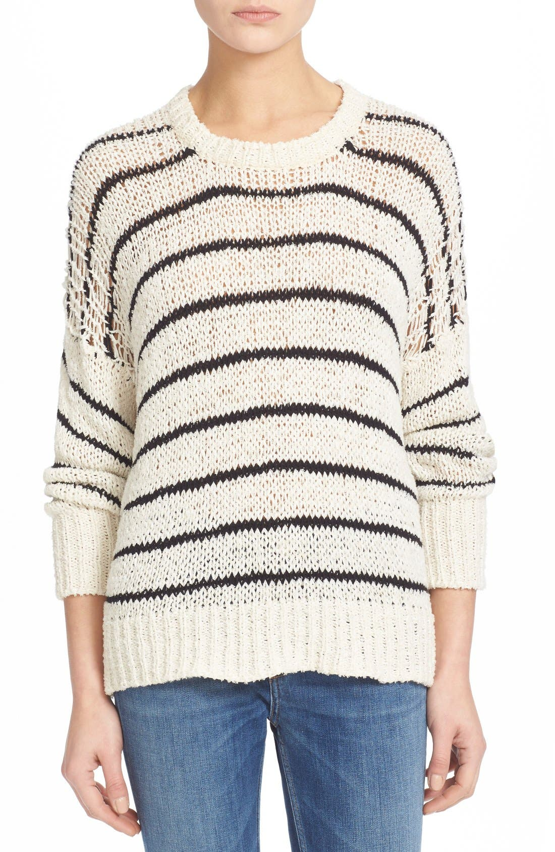 Alternate Image 1 Selected - IRO Stripe Cotton Blend Knit Sweater