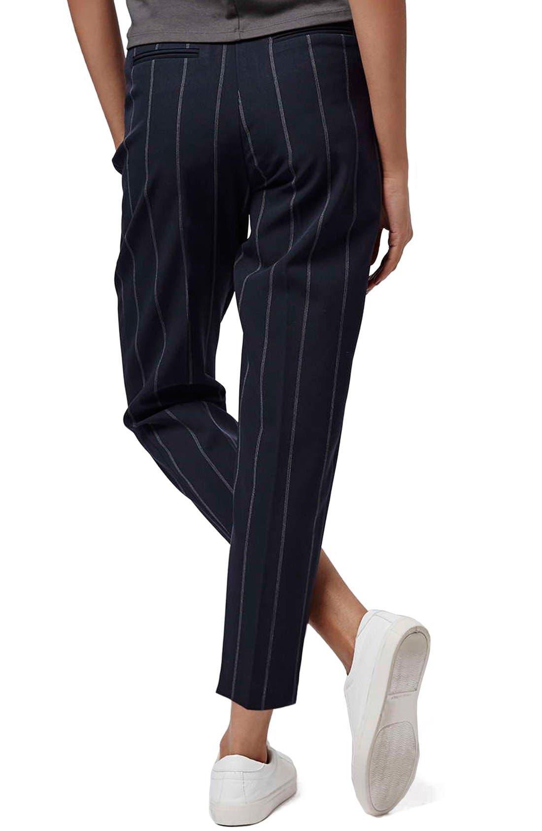 Alternate Image 3  - Topshop Belted Pinstripe Pants (Regular & Petite)
