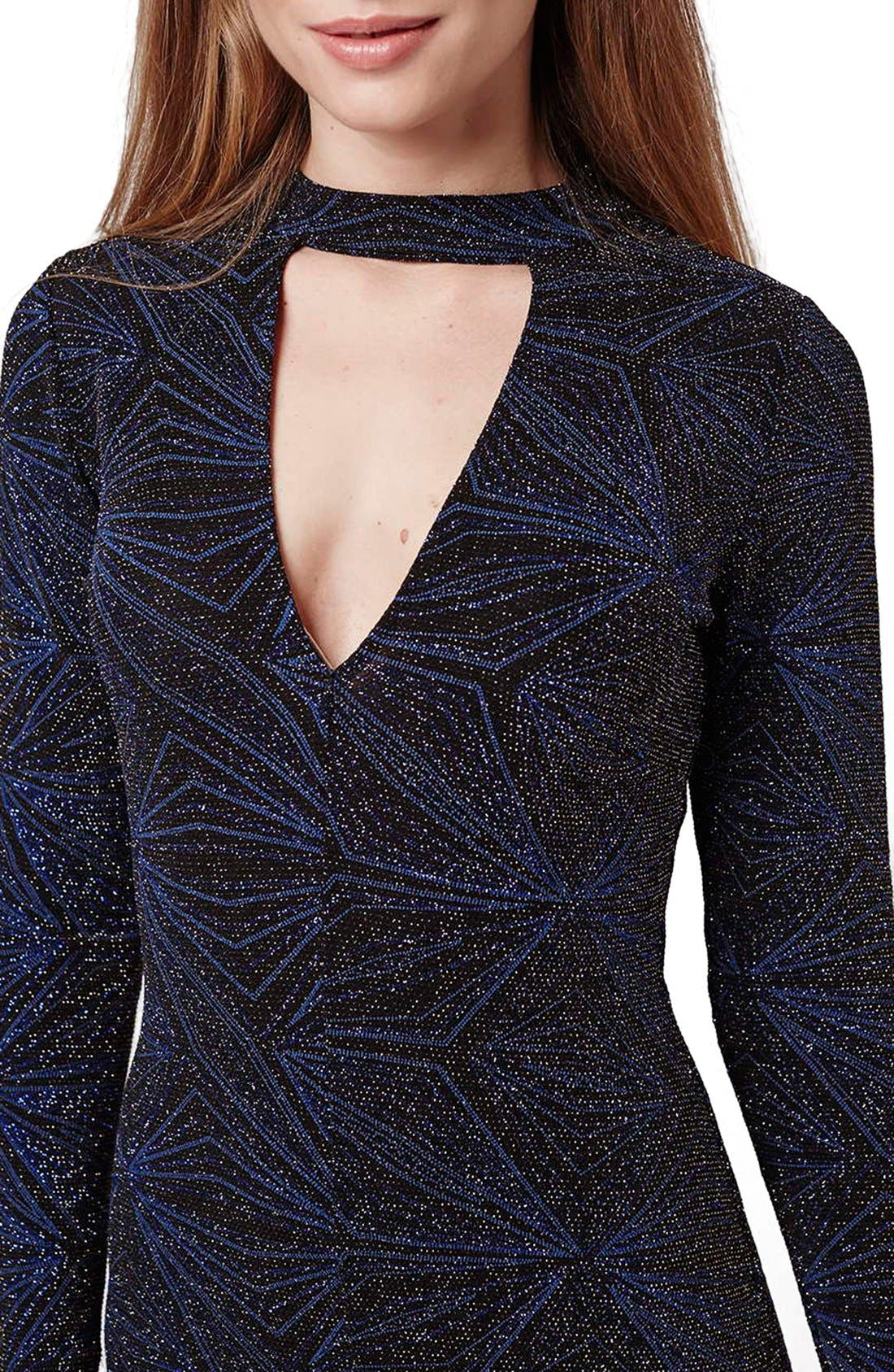 Alternate Image 6  - Topshop Metallic Long Sleeve Body-Con Dress
