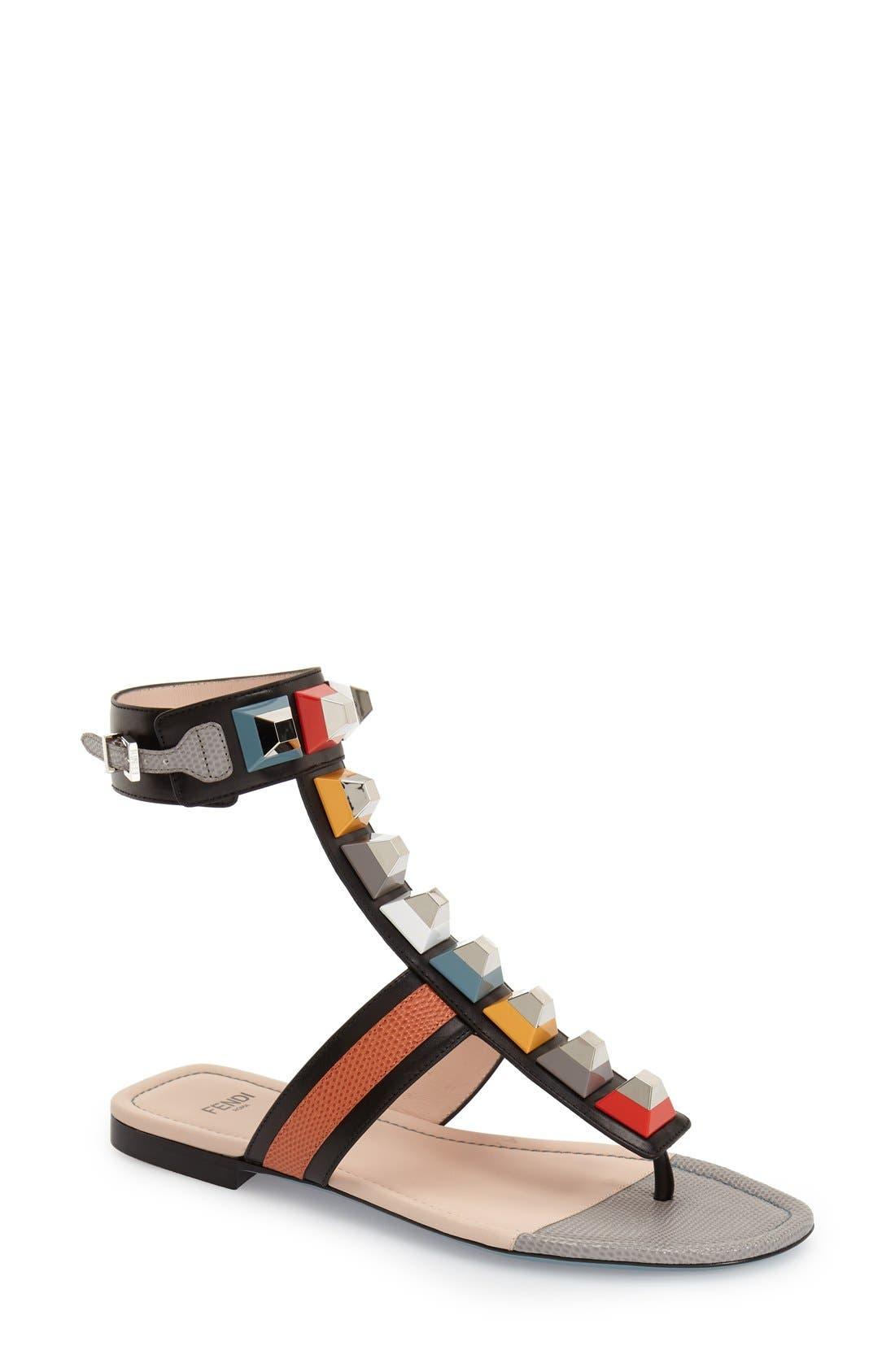 Alternate Image 1 Selected - Fendi 'Rainbow' Studded Colorblock Gladiator Sandal (Women)