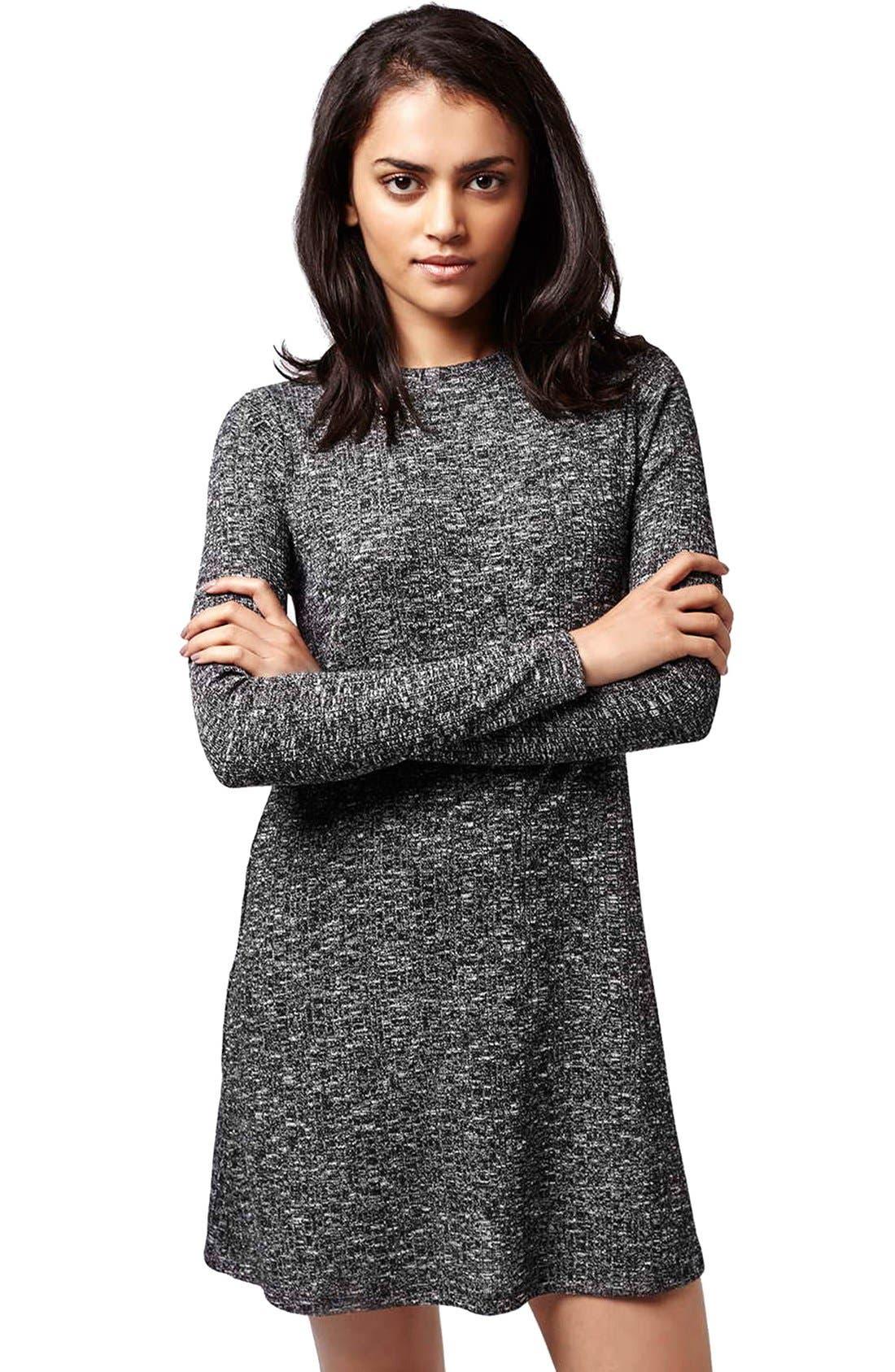 Main Image - Topshop Ribbed Long Sleeve Tunic Dress