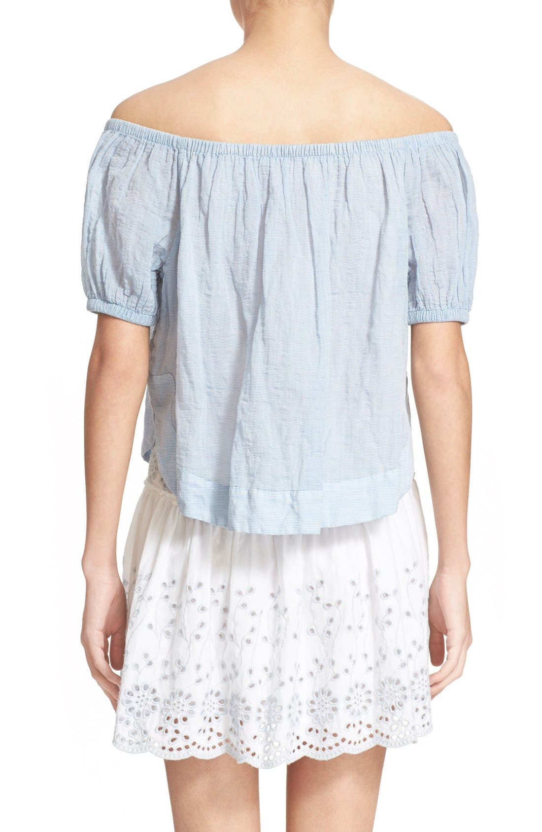 Alternate Image 2  - See by Chloé Stripe Cotton Voile Off the Shoulder Top