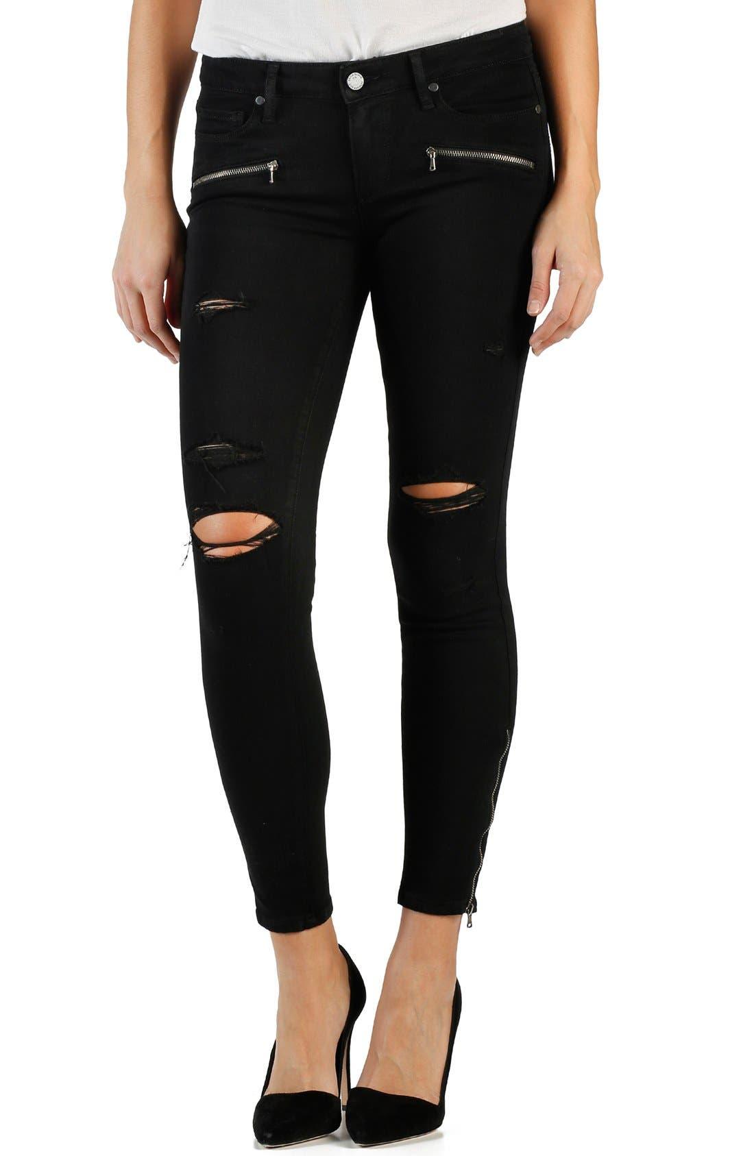 Alternate Image 1 Selected - Paige Denim 'Transcend - Jane' Crop Zip Skinny Jeans (Black Shadow)