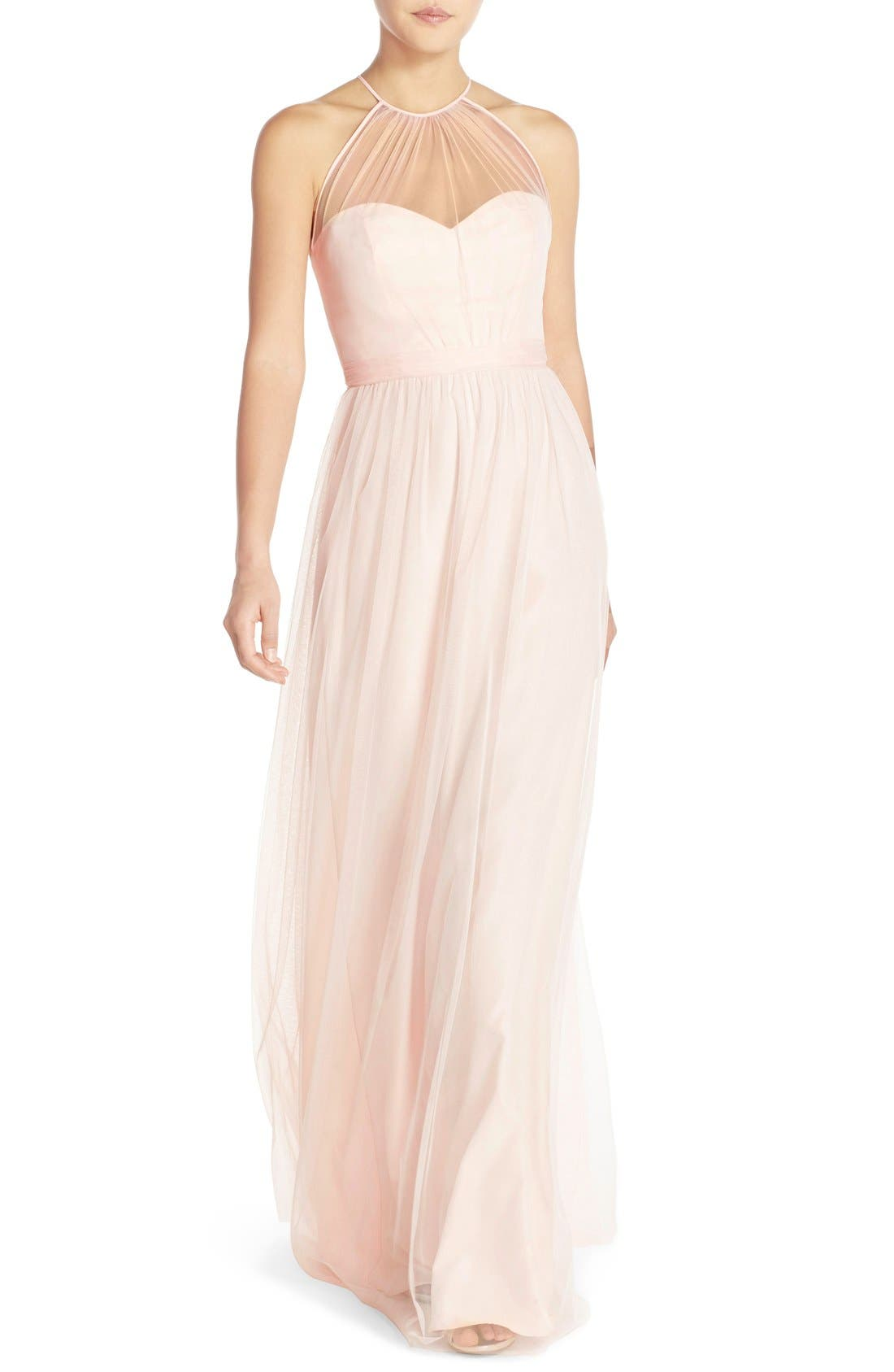 Main Image - Amsale 'Aliki' Illusion Yoke Tulle Halter Gown