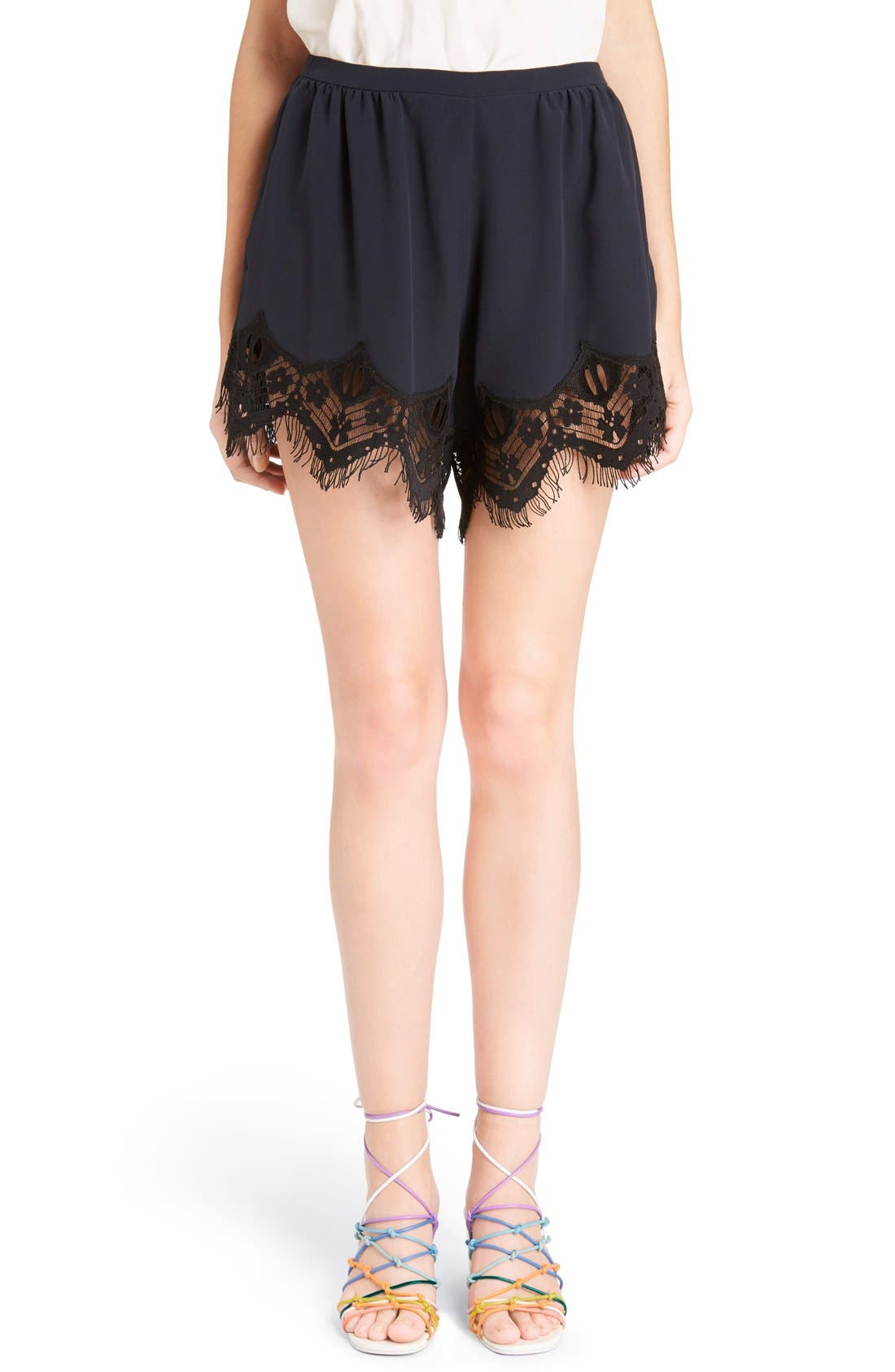 Main Image - Chloé Fringed Floral Lace Trim Silk Shorts