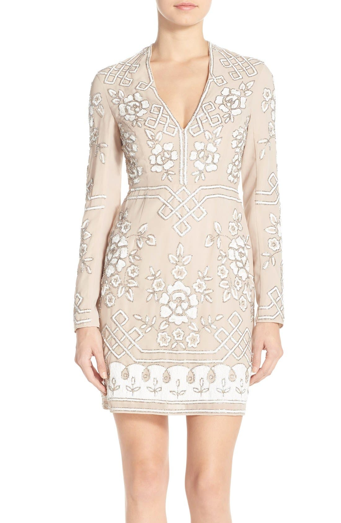 Main Image - Needle & Thread Embellished Long Sleeve Minidress