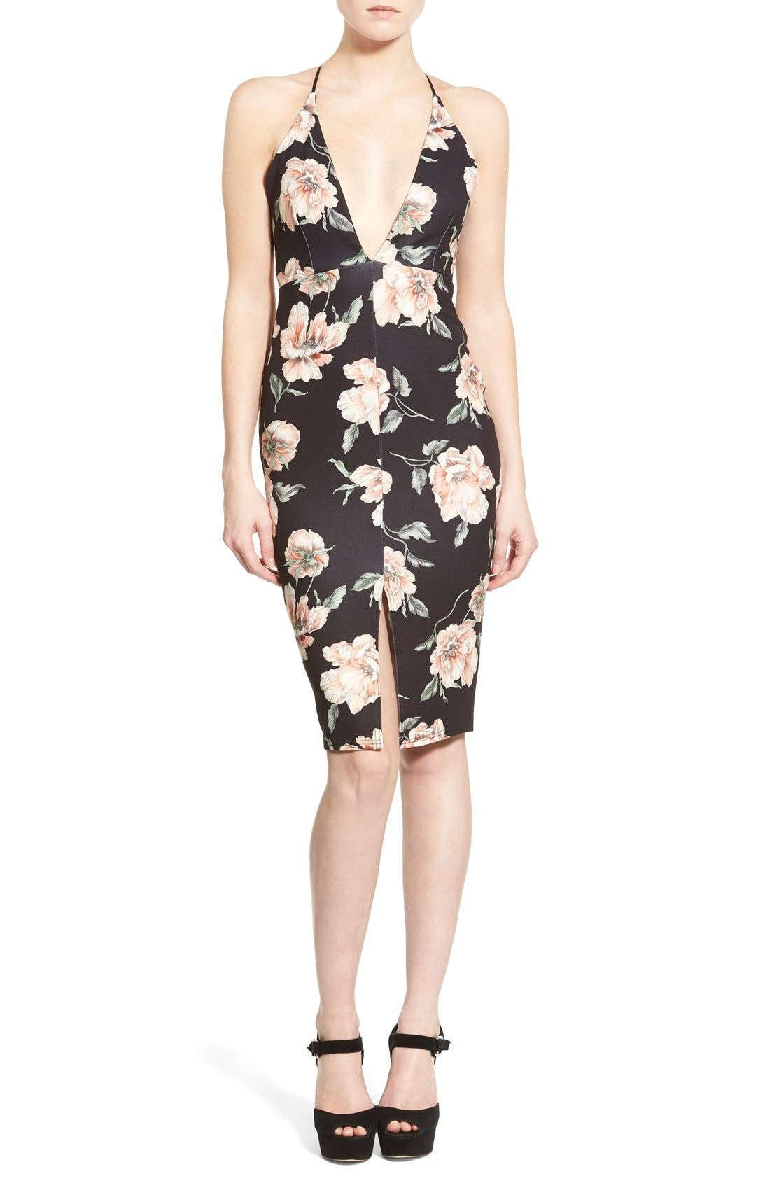 Alternate Image 1 Selected - Missguided Floral Print Plunge Body-Con Dress