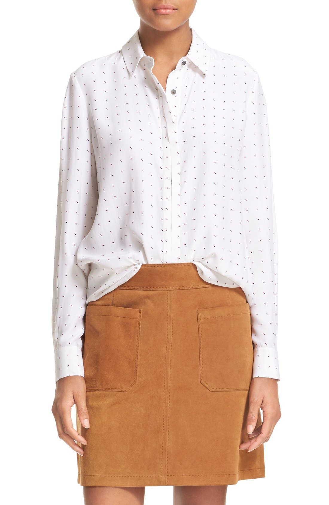 Main Image - FRAME 'Le Classic' Pleated Silk Shirt (Nordstrom Exclusive)