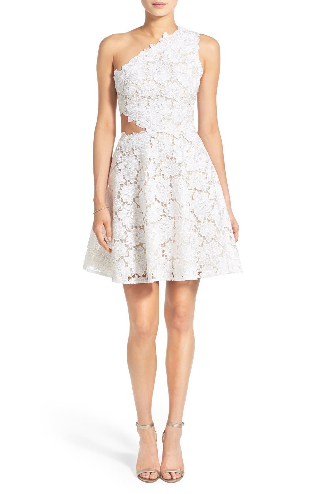 BLISS Monique Lhuillier Guipure Lace One Shoulder Fit & Flare Dress