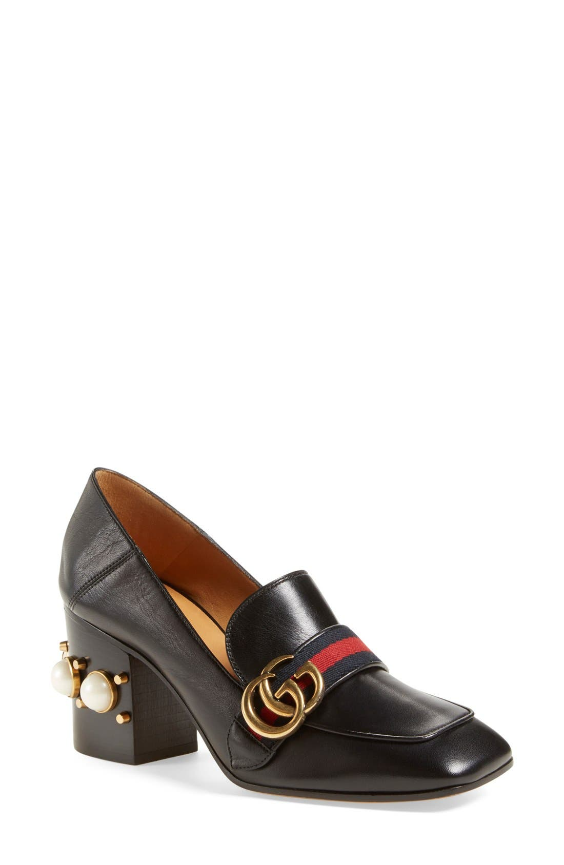 Alternate Image 1 Selected - Gucci 'Peyton' Square Toe Loafer Pump (Women)
