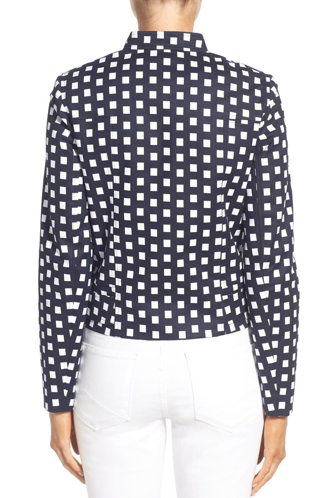 Alternate Image 2  - MICHAEL Michael Kors Check Front Zip Moto Jacket (Petite)