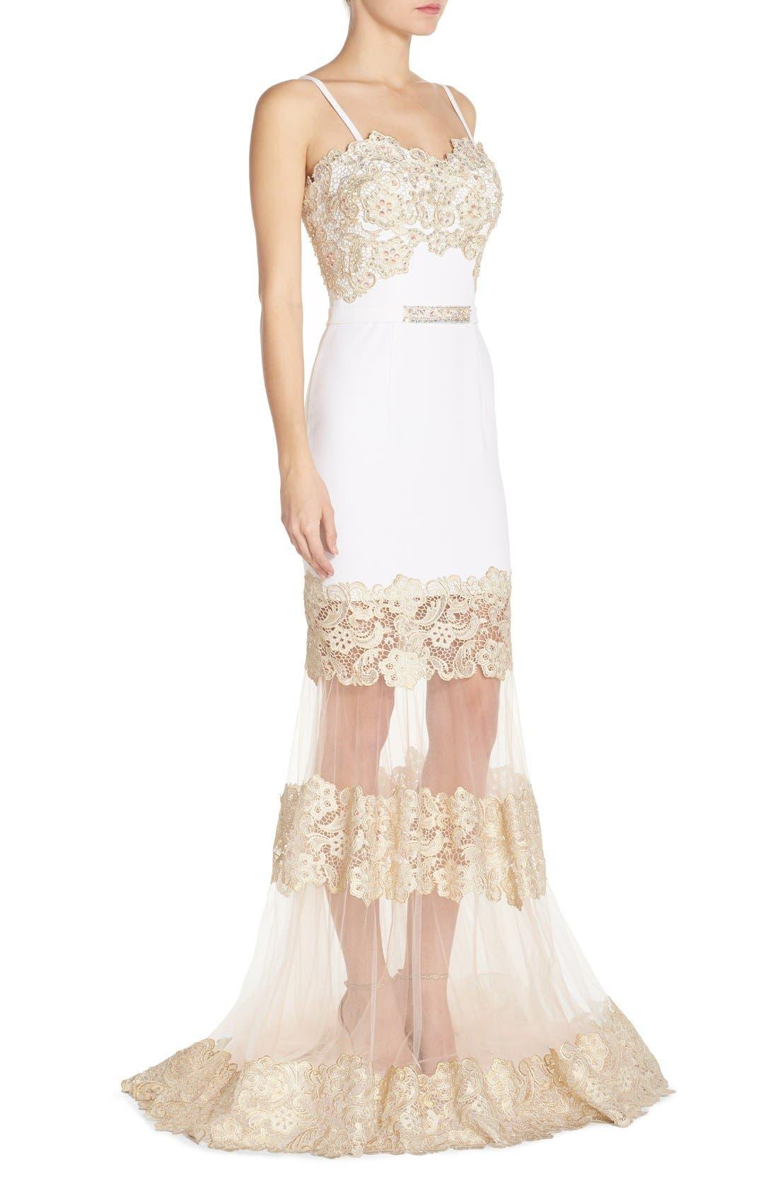 Alternate Image 3  - Terani Couture Illusion Lace & Crepe Mermaid Gown