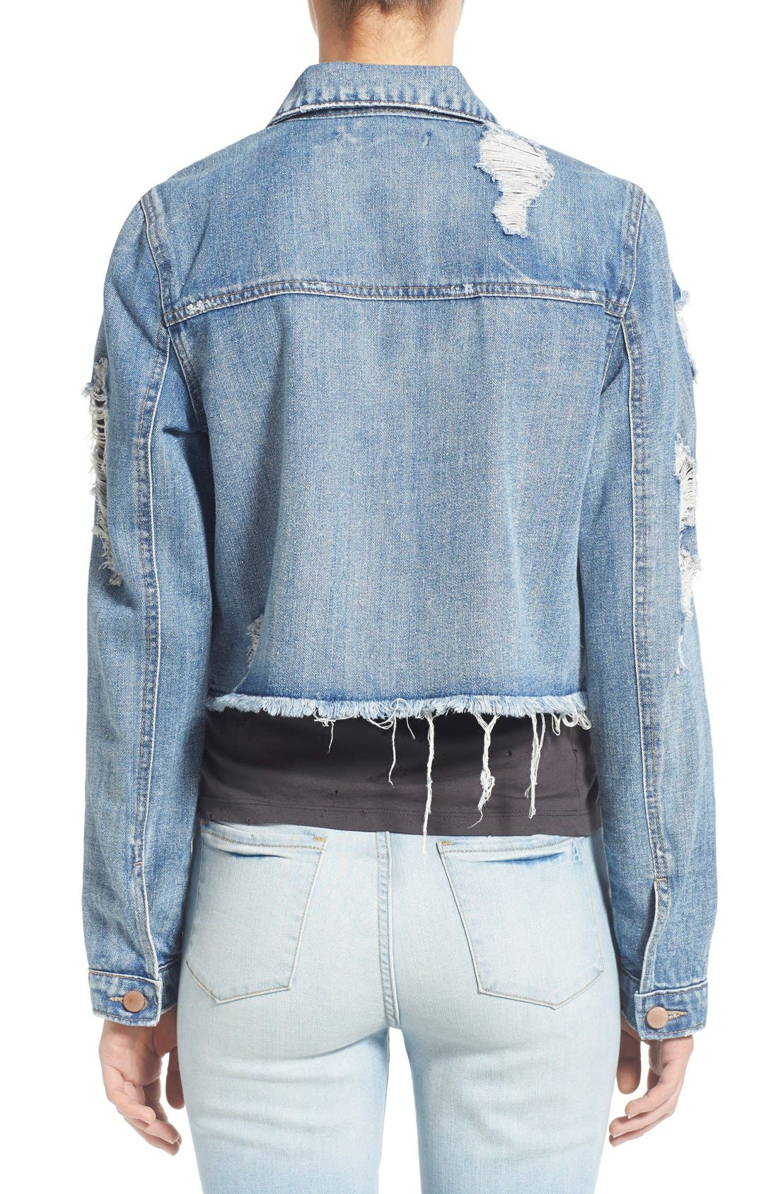 Alternate Image 2  - Love, Fire Distressed Denim Jacket