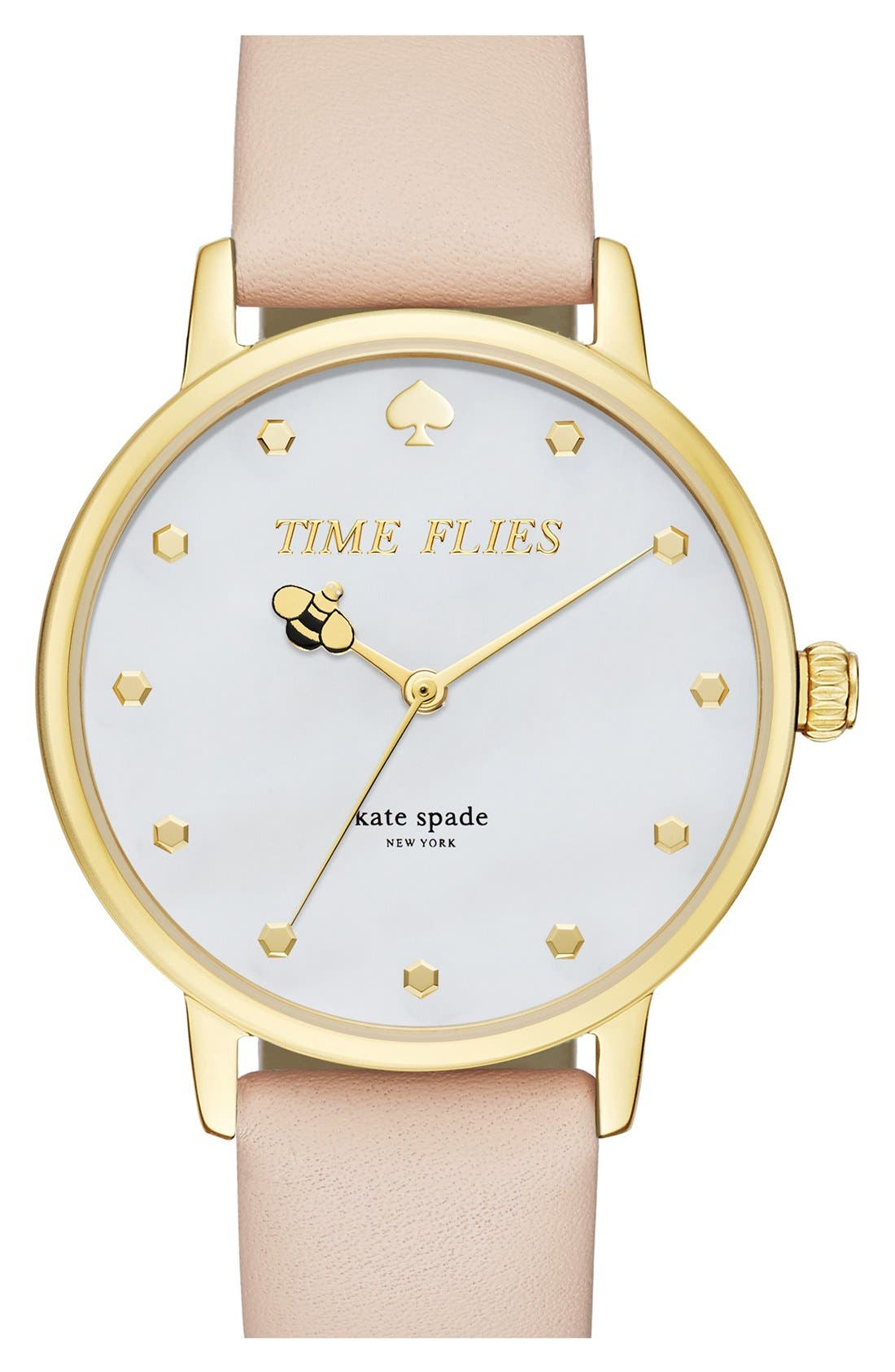 Main Image - kate spade new york 'metro - honeybee' leather strap watch, 34mm