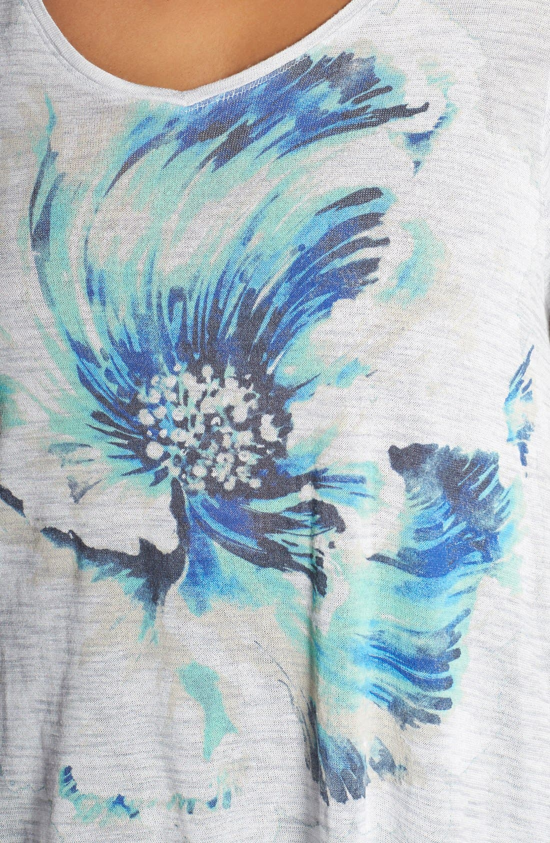 Alternate Image 4  - Lucky Brand 'Painted Floral' Tee (Plus Size)