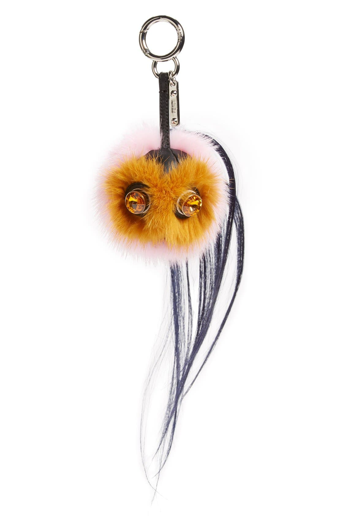 Alternate Image 1 Selected - Fendi 'Mini Qutweet Monster' Genuine Mink & Goat Fur Bag Charm