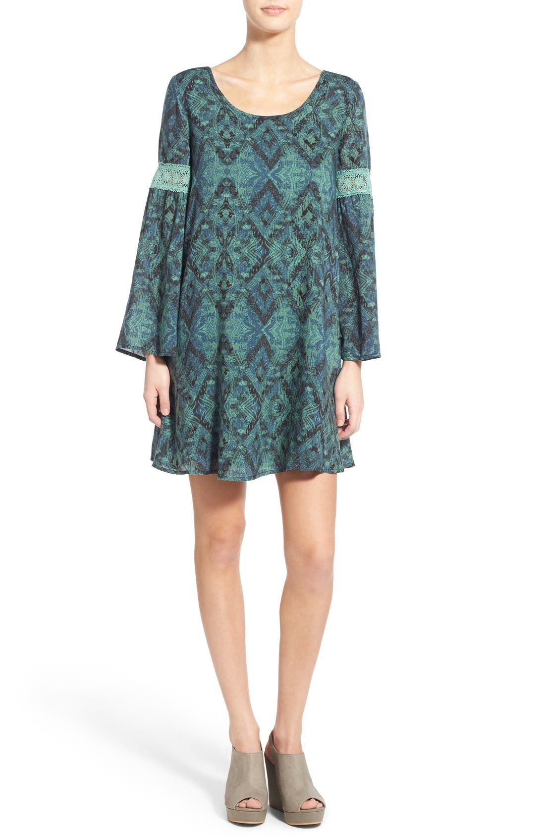Main Image - Sun & Shadow Print Bell Sleeve Shift Dress