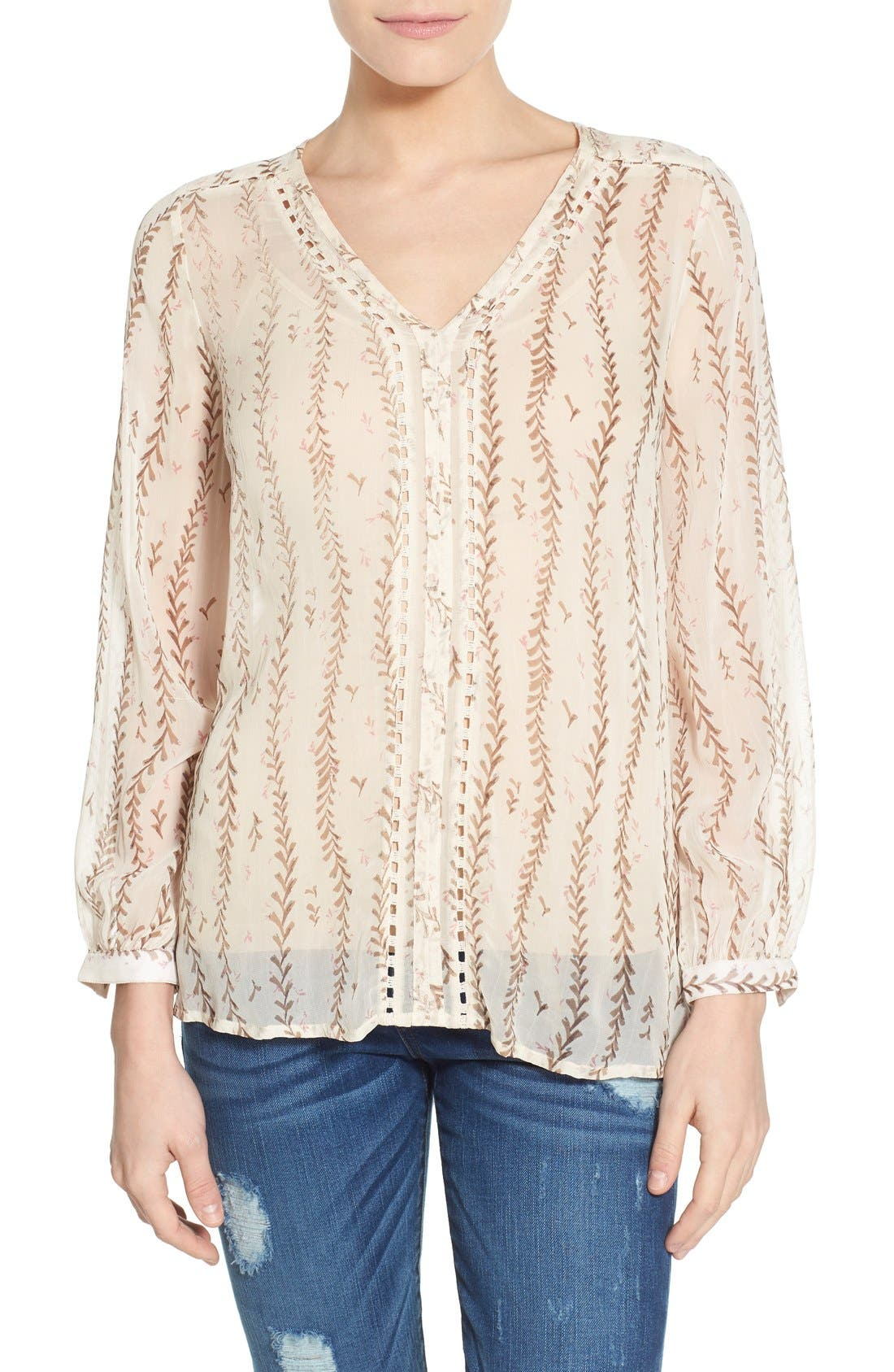 Alternate Image 1 Selected - Lucky Brand Lace Inset Vine Print Blouse