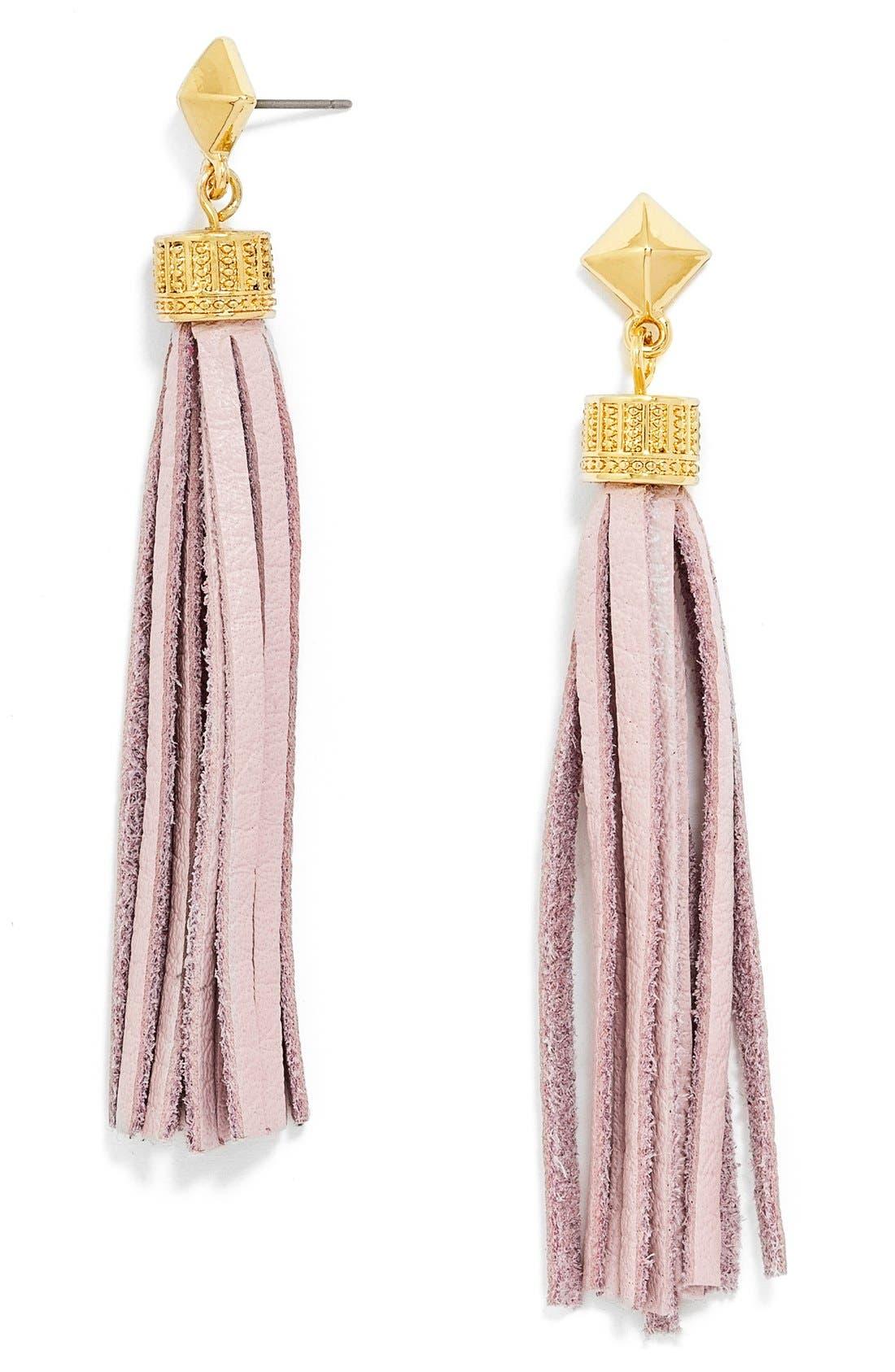Main Image - BaubleBar Leather Tassel Drop Earrings