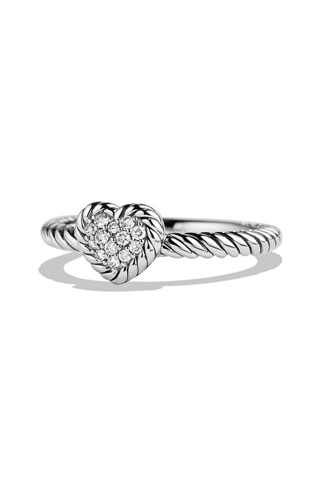 David Yurman 'Châtelaine' Heart Ring with Diamonds