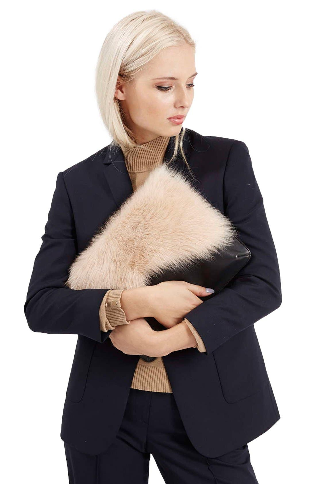 Alternate Image 2  - Topshop Genuine Shearling & Leather Clutch
