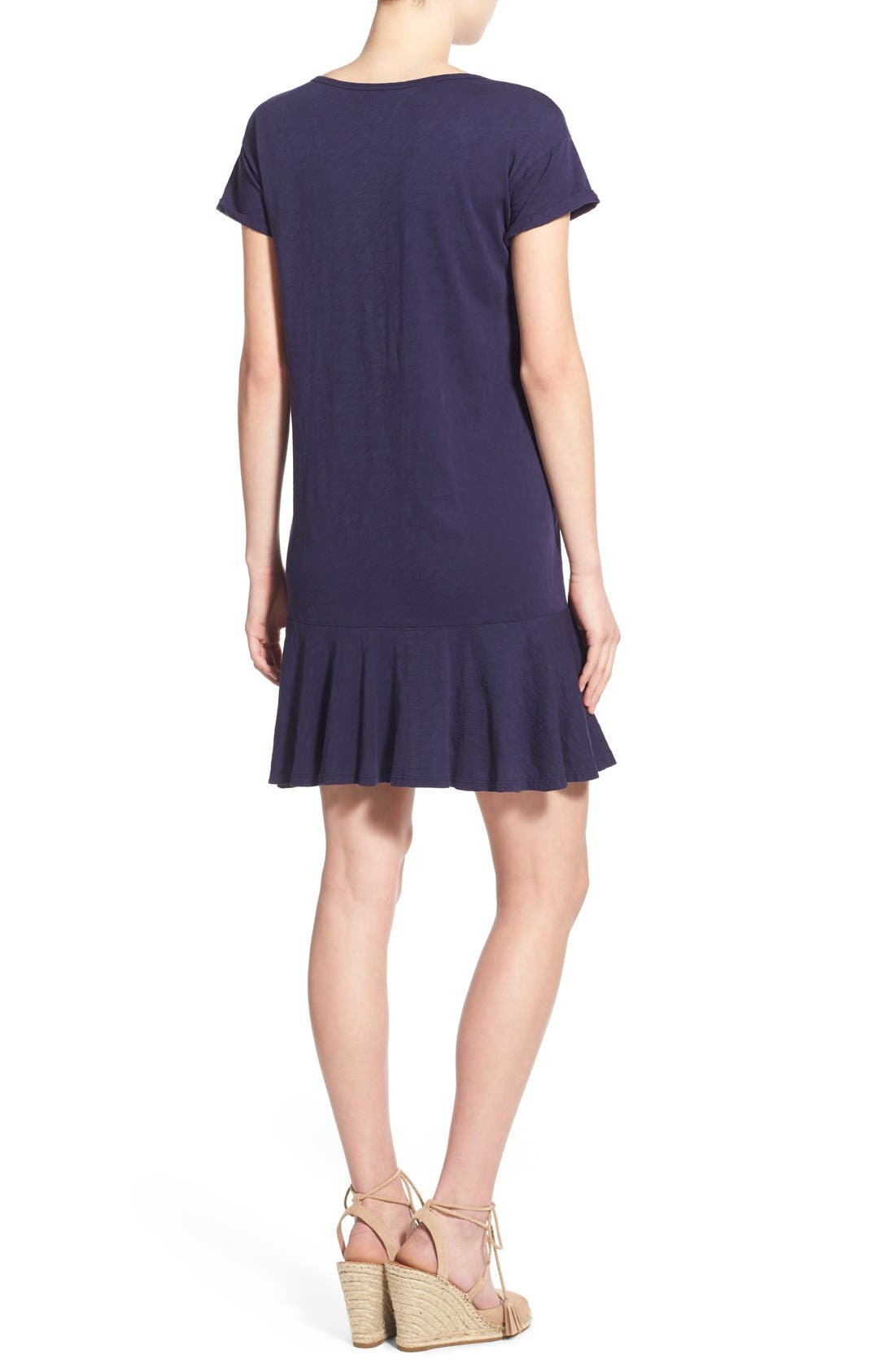Alternate Image 2  - Velvet by Graham & Spencer Ruffle Hem Cotton Tee Dress