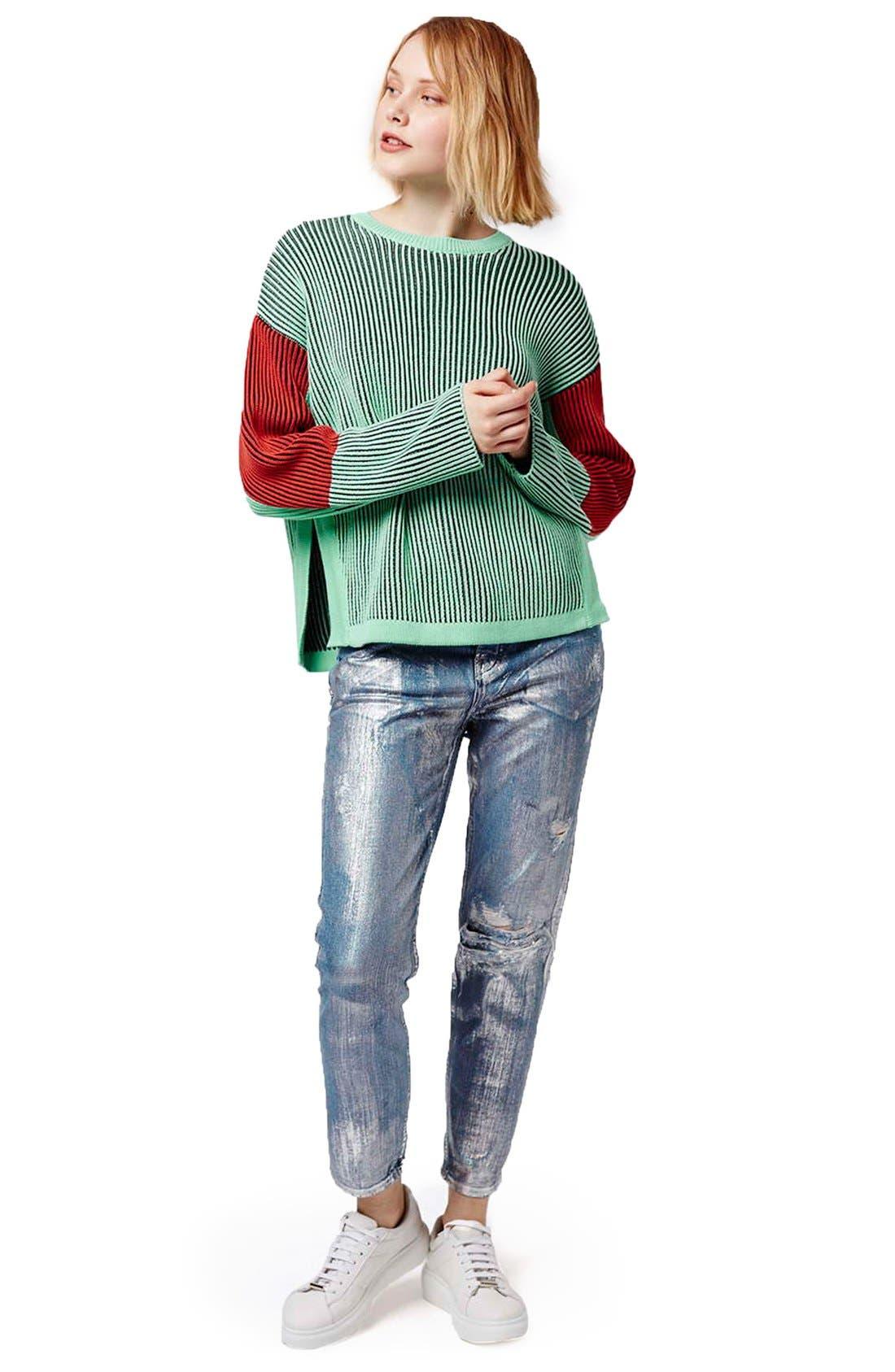 Alternate Image 2  - Topshop Colorblock Crewneck Sweater